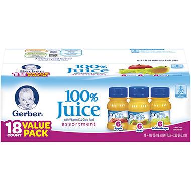 Gerber Assorted Fruit Juice Pack - 18 pk. - 4 oz.