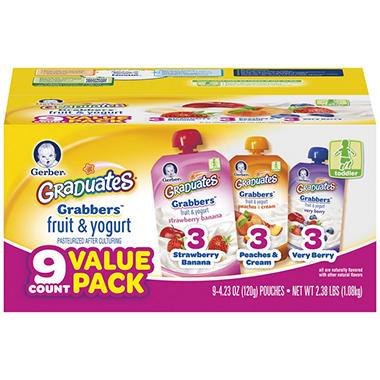 Gerber Graduates Grabbers Fruit & Yogurt -4.23 oz - 9 ct.