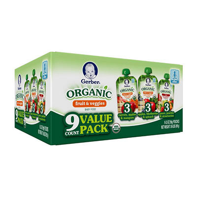 Gerber Organic Fruit  Veggies, Variety Pack (3.5 oz., 9 ct.)