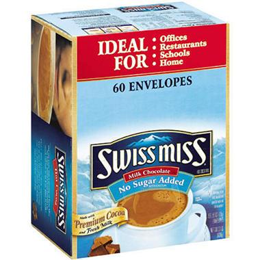 Swiss Miss No Sugar Added Cocoa (.55 oz. each, 60 ct.)