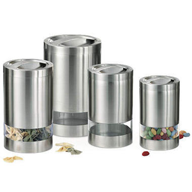 Stainless Steel Window Canisters 4 Pc Sam 39 S Club