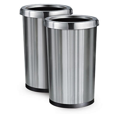 Tramontina Stainless Steel Commercial Trash Bin - 13 Gallons - 2 pack
