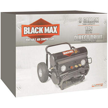 Black Max® Portable Air Compressor - 5 gallon