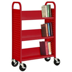 Off - Sandusky - Single Sided 3-Sloped Shelf Welded Booktruck