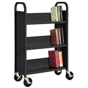 Sandusky Single Sided 3-Sloped Shelf Welded Booktruck, Various Colors