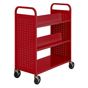 Off - Sandusky - Double Sided 6-Sloped Shelf Welded Booktruck - Red