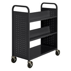 Sandusky Double Sided 6-Sloped Shelf Welded Booktruck, Various Colors