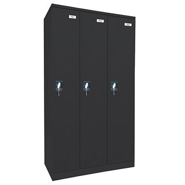 Sandusky Quick Assembly Triple Wide Locker - Black - 72