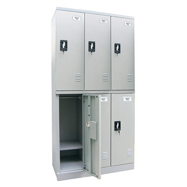 Sandusky Quick Assembly Double Tier Triple Wide Locker - Dove Gray - 72