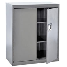 "Sandusky Stainless Steel Paddle Lock Storage Cabinet - Grey (36""W x 18""D x 42""H)"