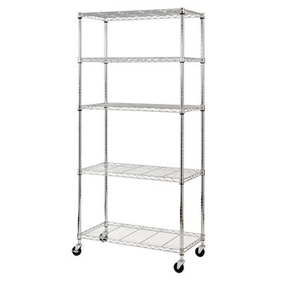 "Sandusky Heavy Duty Chrome Mobile Wire 5-Shelf Shelving Unit - 36""W x 18""D x 72""H"