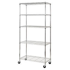 Heavy Duty Chrome Mobile 5-Shelf Shelving Unit (Save $15 Now)