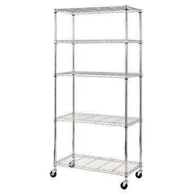 Heavy Duty Chrome Mobile 5-Shelf Shelving Unit