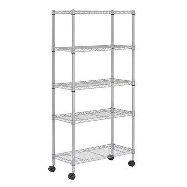 Sandusky Heavy Duty 5-Shelf Silver Mobile Wire Shelving Unit - 30