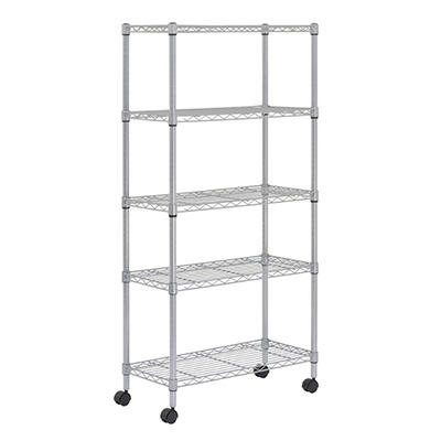 "Sandusky Heavy Duty 5-Shelf Silver Mobile Wire Shelving Unit - 30""W x 14""D x 60""H"