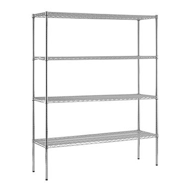 "Sandusky Heavy Duty NSF Certified Chrome 4-Shelf Wire Shelving - 74""H x 60""W x 18""D"