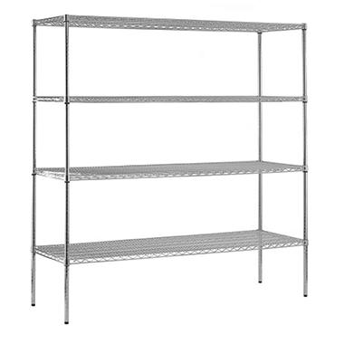 "Sandusky Heavy Duty NSF Certified Chrome 4-Shelf Wire Shelving - 74""H x 72""W x 18""D"