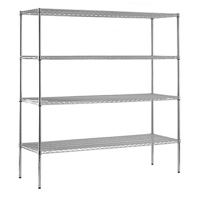 "Sandusky Heavy Duty NSF Certified Chrome 4-Shelf Wire Storage Shelving - 74""H x 72""W x 24""D"