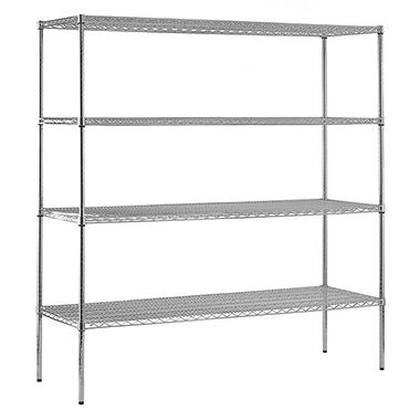 "Sandusky Heavy Duty NSF Certified Chrome 4-Shelf Wire Shelving - 86""H x 72""W x 24""D"