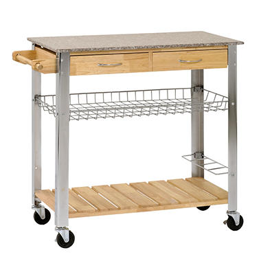 Sandusky Rubber Wood Kitchen Trolley with Marble Top