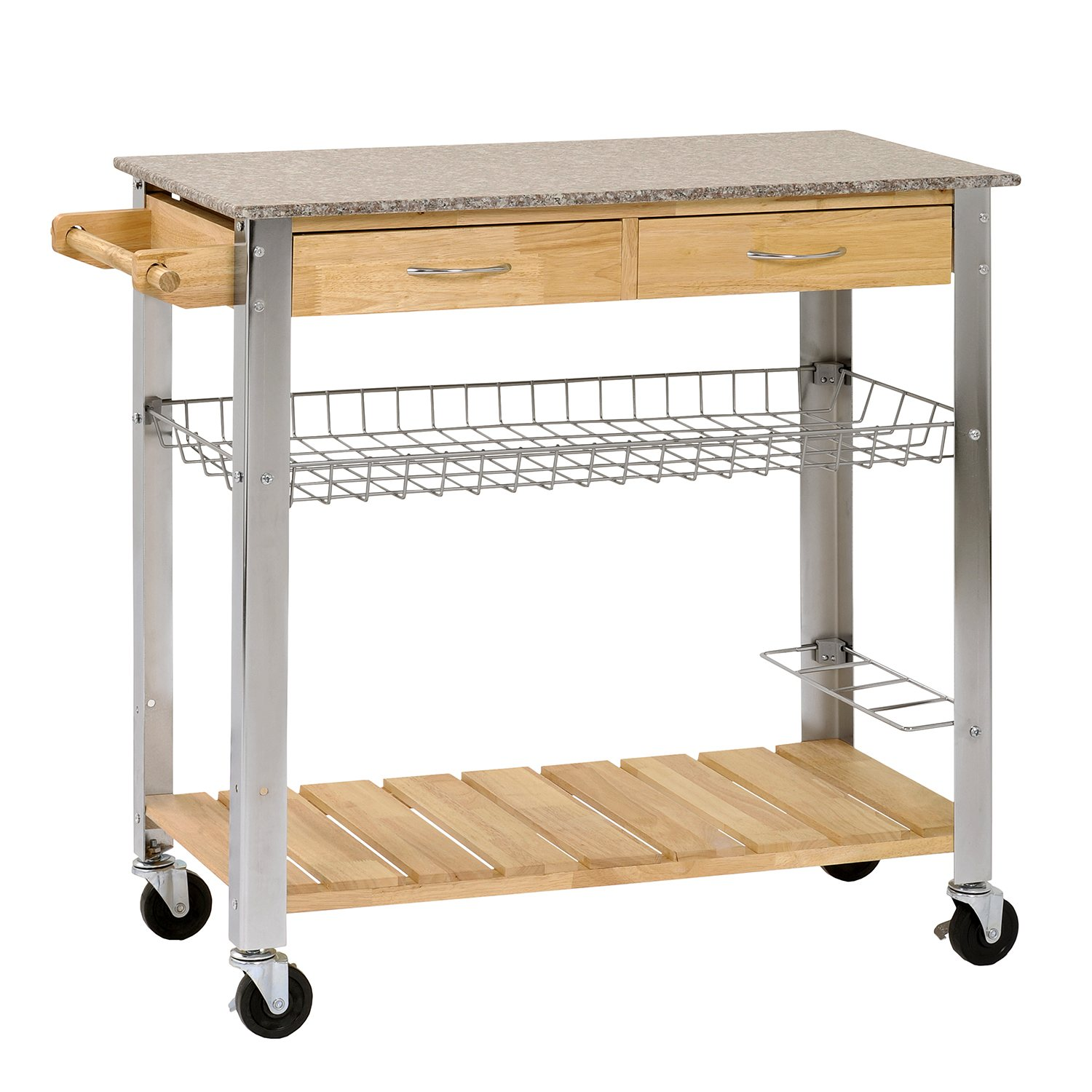 new kitchen trolley rolling cart wood steel legs 2 storage drawer