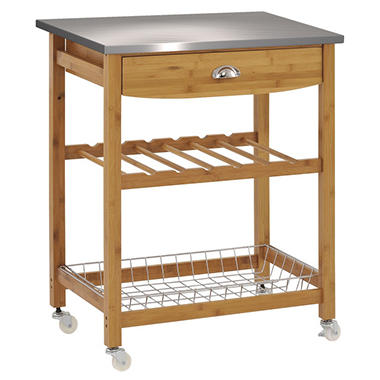 Sandusky Bamboo Stainless Top Kitchen Cart