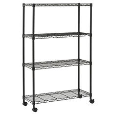 "Sandusky 4-Level Mobile Wire Shelving Unit - Black (36""W x 54""H x 14""D)"