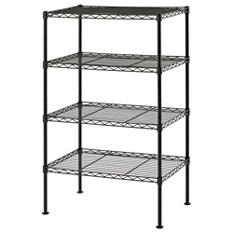 "Sandusky 4-Level Light Duty Wire Shelving Unit - Black (20""W x 32""H x 12""D)"