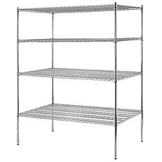 "Sandusky Heavy Duty 4-Level NSF Certified Wire Shelving - Chrome (74""H x 60""W x 36""D)"