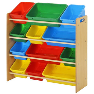 Kids Bin Organizer with 12 Plastic Bright Color Bins