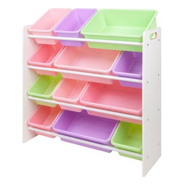 Kids Bin Organizer with 12 Plastic Pastel Color Bins