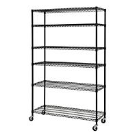 Heavy Duty Black Mobile Wire 6-Shelf Shelving Unit