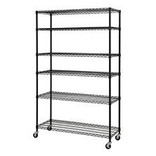 Sandusky Heavy Duty Black Mobile Wire 6-Level Shelving Unit