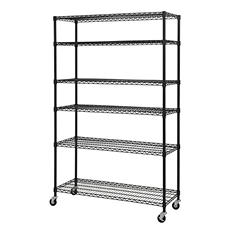 "Heavy Duty Black Mobile Wire 6-Shelf Shelving Unit (48""W x 18""D x 74""H)"