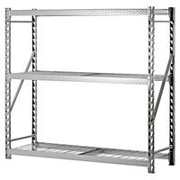 Heavy Duty 3-Shelf Welded Steel Treadplate Rack with Wire Shelves