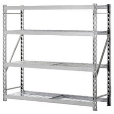 Heavy-Duty 4-Shelf Welded Steel Treadplate Rack with Wire Shelves