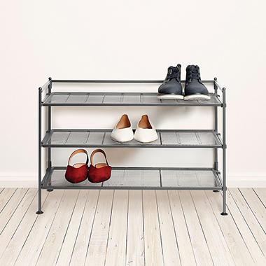 3-Tier Iron Shoe Rack with Steel Mesh Shelves