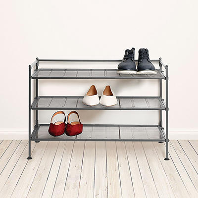 3-Tier Iron Shoe Rack with Steel Mesh Shelves