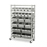 Seville Classics Commercial Bin Rack w/ Wheels - 22 Bins