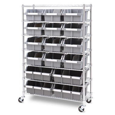 Commercial Bin Rack with 16 Durable Bins