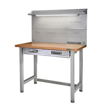 Seville Classics Lighted Hardwood Top Workbench - Light or Dark Grey