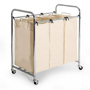 3-Bag Commercial Chrome-Plated Laundry Sorter