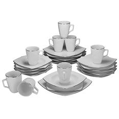 10 Strawberry Street Lotus Silver Line 32-Piece Dinnerware Set
