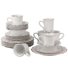 10 Strawberry Street Oxford Dinnerware, 24-Piece Set
