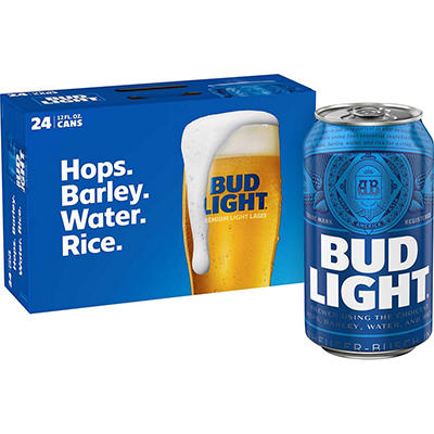 Bud Light Beer - 24/12oz cans