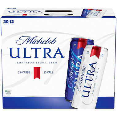 Michelob Ultra Superior Light Beer 12 Oz Cans 30 Pk