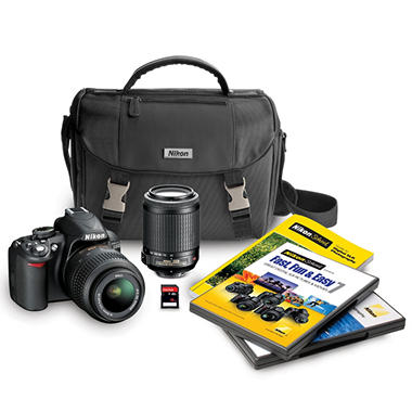 *$599.00 after $200 Instant Savings* Nikon D3100 14.2MP DSLR Camera Bundle with 18-55mm VR Lens, 55-200mm VR Lens, DSLR Bag, and 16GB SDHC Card