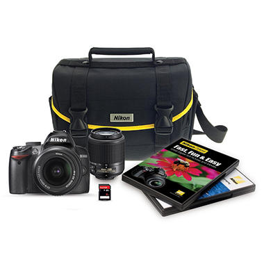 Nikon D3000 10.2 MP DSLR Bundle with 18-55mm Lens and 55-200mm Lens, Free Bag and 8 GB Card