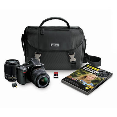 *$979 after $200 Instant Savings* Nikon D5200 24.1MP DSLR Camera Bundle with 18-55mm VR Lens, 55-200mm, DSLR Bag, Wifi Adapter, and 16GB SDHC Card