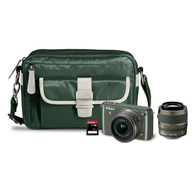 Nikon 1 S1 Compact System Camera Bundle with 11-27.5mm and 30-110mm VR Lenses, Carrying Case and 16GB SD Memory Card - Various Colors